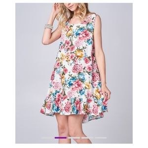 🆕 Ivory Floral Ruffle Hem Swing Dress